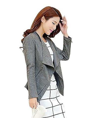 Aro Lora Women's Faux Suede Moto Jacket Zipper and Zip Front US 2-4 Grey - Faux Suede Blazer