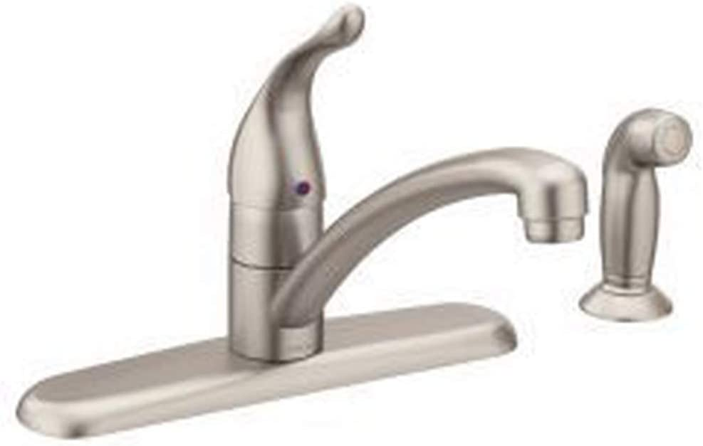Moen 7430SRS Chateau One-Handle Low-Arc Kitchen Faucet with Side Sprayer, Spot Resist Stainless