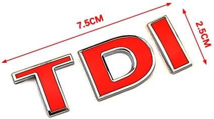 TDI Symbol Emblem Sticker Badge for Auto Car Van Front Fender Bumper Trunk Boot Window Decal Silver TD + Red I