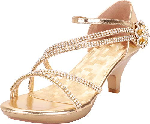 - Cambridge Select Women's Open Toe Crisscross Strappy Crystal Rhinestone Flower Platform Low Kitten Heel Sandal,8 B(M) US,Gold