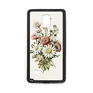 Personality customization Daisy Flowers Samsung Galaxy Note 4 Cases Daily Flower Arts Design for Men, Case for Samsung Galaxy Note 4 Edge Design for Men [Black] By Y-inc.case