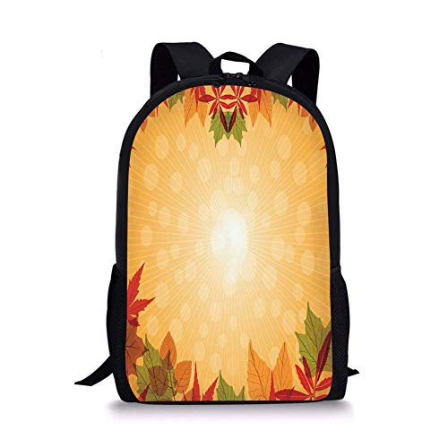 Striped Dotted Background and Vibrant Maple Aspen Oak Leaves Seasonal Nature Decorative,Red Green Orange for Boys&Girls Mens Sport Daypack ()