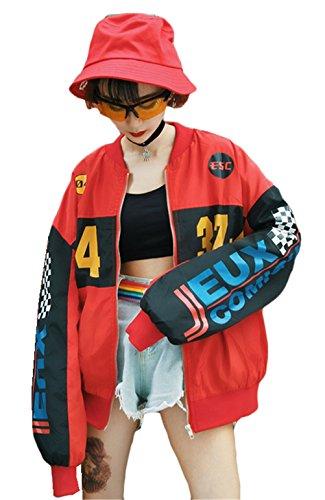Womens Fashion Harajuku Hip Hop Printed Paneled Loose Casual BF Zipper Baseball Jacket by Didala