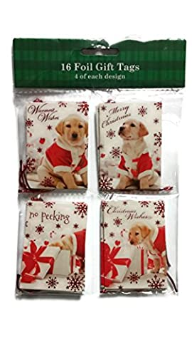 Foil Gift Tags 1 Pack of 16 Tags with 4 of Each Design - Golden Retriever Puppy's - Golden Retriever Wrapping Paper