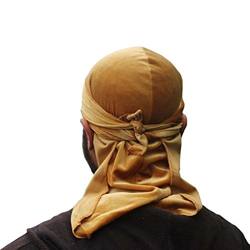 Headband Silky Wide (The Mane Durag - Silky Soft Velvet Durag for 360, 540 and 720 WavesBiker Headwear Headband Pirate Hat Hair Accessories, Gold)
