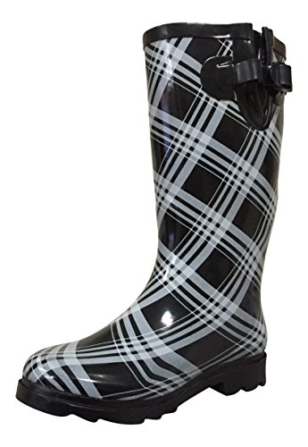 Womens White Boots Rubber MSTKH Black PSW Swirl Rain Bx8PPd1