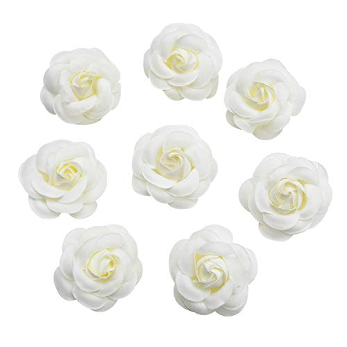 Silk Flower in Bulk Wholesale for Crafts Fake Flower Rose Head Silk Rose Bud Wedding Decoration DIY Party Festival Home Decor Wreath Headdress Accessories Clip Art Flower 20pcs 5cm (White) -