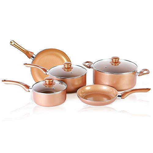 8 PCS Copper Coated Nonstick Cookware Set, Induction Compatible Ceramic Copper Pots and Pans Cookware set Includes Frying Pan, Saucepan and Detachable Handles with Steam Vented Glass Lid