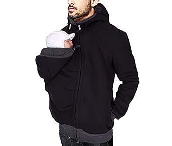 Mens Kangaroo Hoodies Jacket Coat for Dad and Baby Carrier