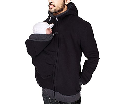 Mens Kangaroo Hoodies Jacket Coat for Dad and Baby Carrier Maternity Winter Warm Sweatshirts (L) Black