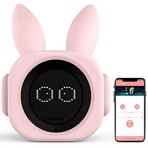 (VOBOT Bunny Kids/Toddlers Smart Sleep Trainer with Amazon Alexa, Alarm Clock Including Night Lights and Sleep Sounds Customizable Sleep Training Program by Smartphone App - Bright)