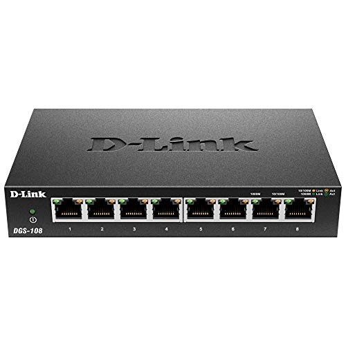 D-Link 8 Port Gigabit Unmanaged Metal Desktop Switch - Rackmount 1000 Va
