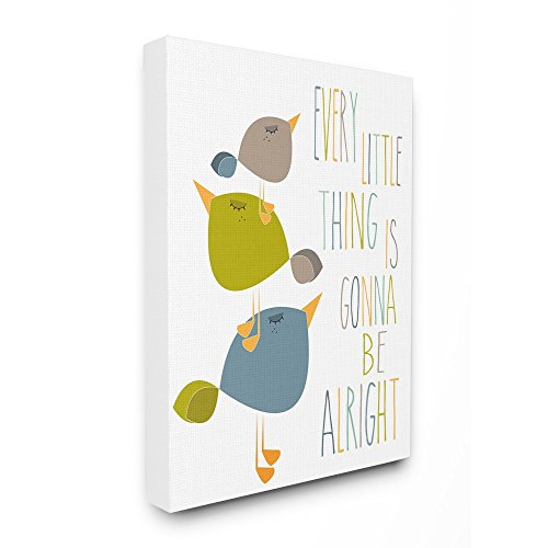 The Kids Room by Stupell Three Little Birds Print Green Tan and Blue Stretched Canvas Wall Art, 16 x 1.5 x 20, Multi-Color