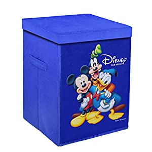 Kuber Industries Disney Team Mickey Print Non Woven Fabric Foldable Laundry Basket, Toy Storage Basket, Cloth Storage Basket with Lid & Handles (Royal Blue)-KUBMART1212