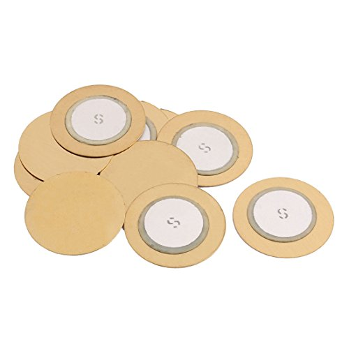 Aexit 10Pcs 20mm Security & Surveillance Diameter Piezo Discs Piezoelectric Ceramic Copper Buzzer Film ket Horns & Sirens Gold Tone