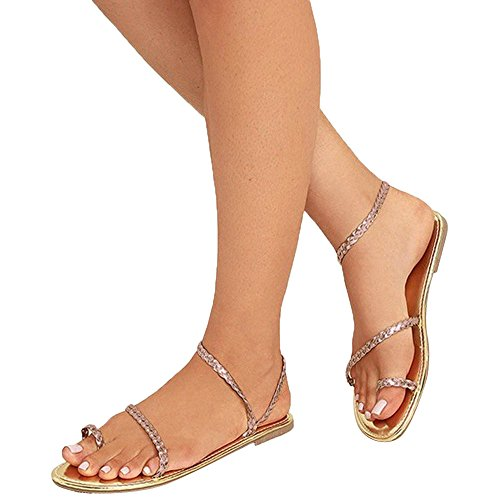 (MILIMIEYIK Slippers for Men, Women's Double Open Toe Band Slingback Buckle Flat Sandals Ring Strappy Slip-On Slide Sandal Gold)