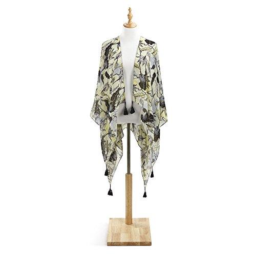 byDesign Citron Floral Garden Tasseled Kimono Wrap/Scarf