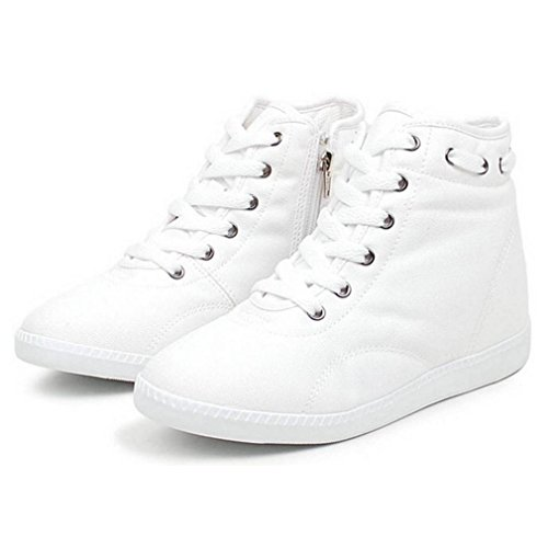 acc51f938a85 high-quality EpicStep Women s Casual Canvas Zip Lace Up High Tops Hidden Wedge  Heels Shoes