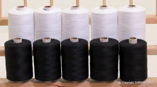 New ThreadNanny 5 White & 5 Black Spools of HEAVY DUTY 3-PLY Polyester QUILTING SERGER SEWING Threads - Pfaff Serger Sewing Machines