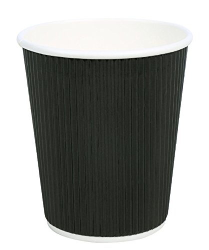 QuaCity Insulated Disposable Ripple Hot & Cold Coffee Paper Cups 8 Oz - Perfect for Hot and Cold Beverages - No Sleeves Needed (25 Count, - Ripple Design
