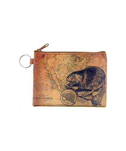 (LAVISHY Vintage Look Beaver Print Vegan/Faux Leather Key Ring Coin Purse)