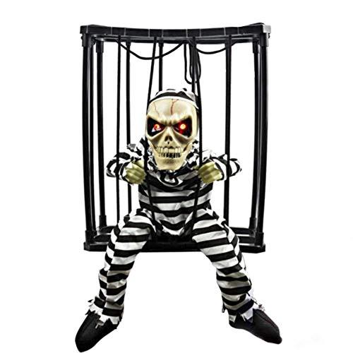 D-Fokes Halloween Haunted House Motion Sensor Light Up Talking Skeleton Prisoner Cage Terror Decoration Toy (Style1)]()