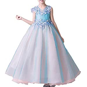 Vestido Fiesta Niña Vestido de Princesa para Fiestas Boda Bautizo Flores Vestidos Elegantes Falda Larga