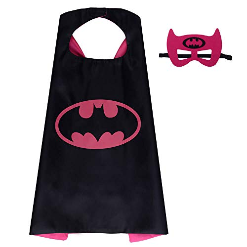 Pawbonds Halloween Costume Superhero Dress Up for Kids - Best Christmas, Birthday Gift, Cosplay Party. Satin Cape and Felt Mask Role Play Set. Cartoon Outfit for Boys and Girls (Batgirl)