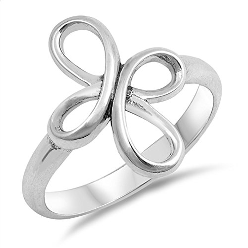 - Swirl Infinity Cross Knot Thumb Ring New .925 Sterling Silver Band Size 8