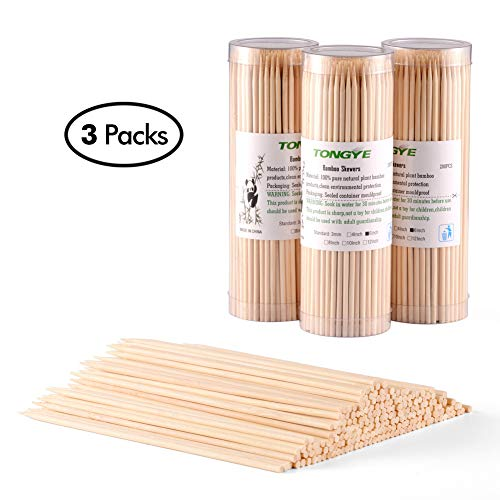 Natural Bamboo Skewers 6 inch for Appetizer, Cocktail, Kabob, Chocolate Fountain, Fruit. Premium Barbecue Tools - No Splits and Debris, Suitable for Kitchen, Party, Grilling. 600 PCS (3 Packs of 200)