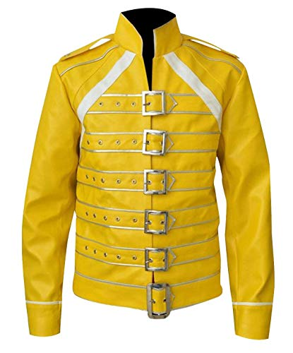Fashion-Nova Freddie Mercury Wembley Queen Concert Costume Yellow Leather Jacket for Mens