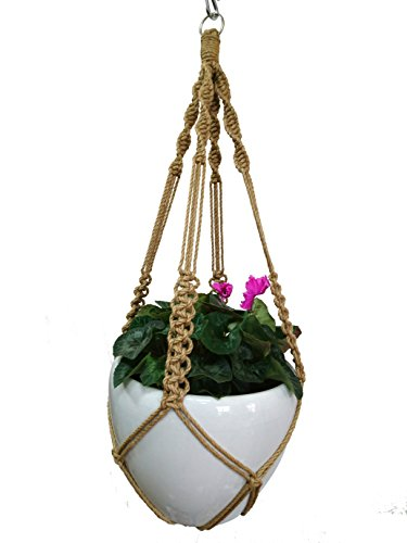 Macrame Plant Hanger Hanging Planter Hemp Rope 4 Legs Plant Hanger with Steel Ring Stand on Bottom 40 Inch without Tassel , No Hook , Pot and Plant Included for - Pot Hanger 7