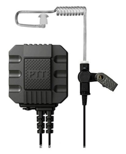 TAPaulk Tactical Elite Series Surveillance Kit w/ Large Forward Facing PTT Button w/ Accessory Port for Optional Wired Weapon PTT For Kenwood 2-Pin Radios P02-A01_K