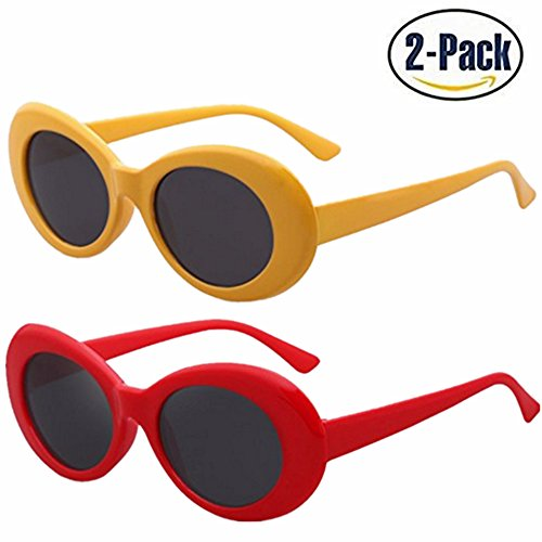 Samto Bold Retro Clout Goggles Oval Round Kurt Cobain Sunglasses (Yellow+Red, - Glasses Yellow Cobain Kurt