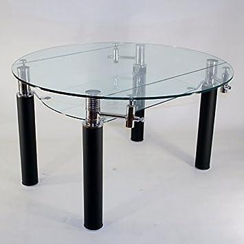 Clear Seat Table En Verre Ronde à Rallonge Extensible Nero ø 130 Cm