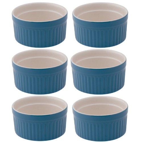 Ramekin Blue (Mrs. Anderson's Baking Souffle Ramekin, Ceramic Earthenware, Blueberry, Set of 6, 3.25-Inch, 4-Ounce Capacity)
