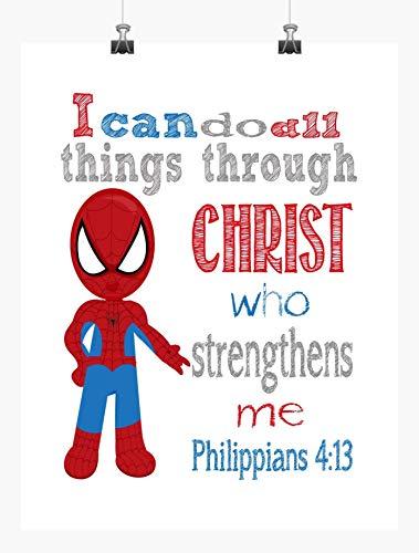 Spiderman Superhero Inspirational Nursery Decor Art Print - I Can Do All Things Through Christ Who Strengthens Me - Philippians 4:13