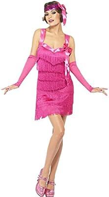 NET TOYS Vestido de charlestón años 20 Color Rosa con Flecos Traje ...