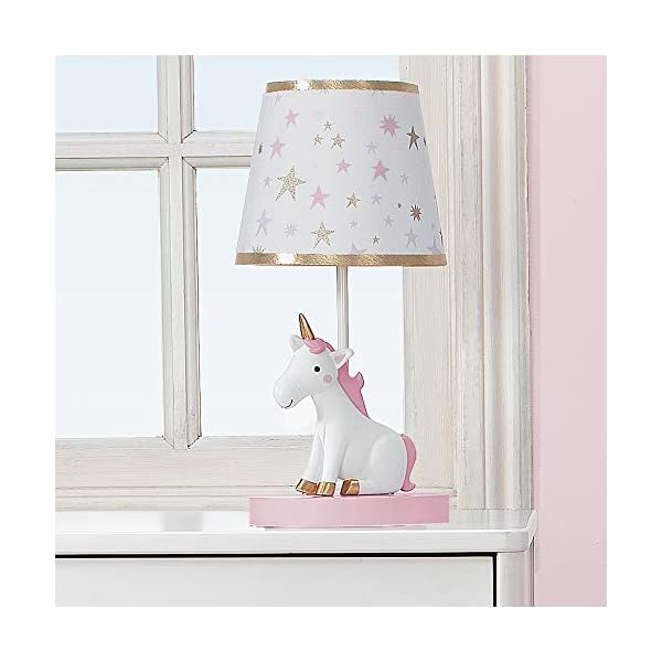 Bedtime Originals Rainbow Unicorn Lamp with Shade & Bulb, White 5