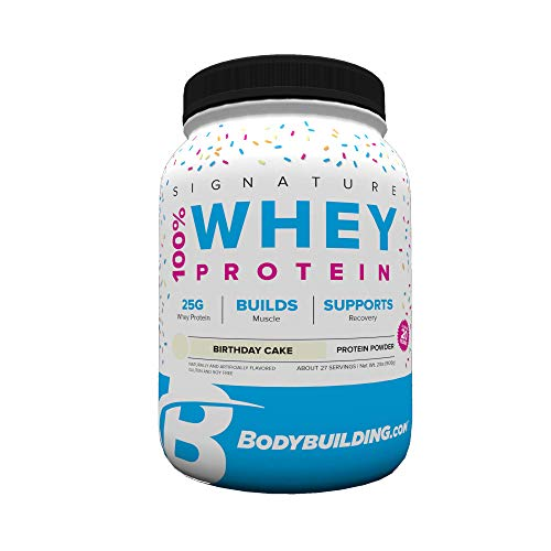 BodyBuilding.Com Signature 100% Whey Protein Powder | 25g of Protein per Serving | Birthday Cake, 2 Lbs