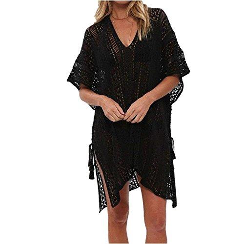 HARHAY Womens Oversize Beach Bikini Swimsuit Cover up Swimwear Crochet Dress Black by HARHAY