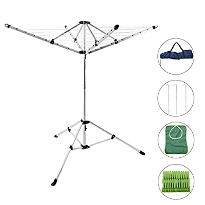 Drynatural Foldable Umbrella Drying Rack Clothes Dryer for Laundry 4 Arm 28 Lines Aluminum 65ft. for Indoor Outdoor - Comes with 3pcs metal ground stake, carry bag, peg bag and 24pcs pegs as free gifts With 65ft linear drying space, this clothesline can hold up to 28.6lbs, which is perfect for handling large laundry loads,towel,blanket,sweater,bed sheet etc Including 3pcs metal ground stakes for fixing the rack when you use it outdoors - laundry-room, entryway-laundry-room, drying-racks - 41RCYBGy7GL. SS400  -