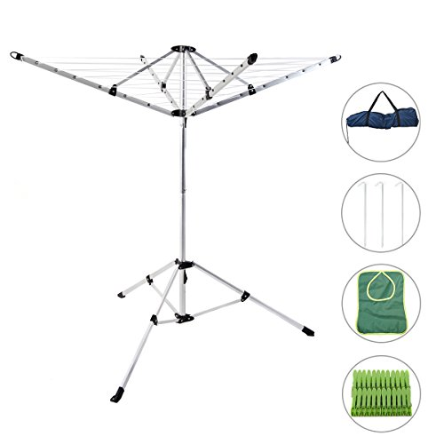 Drynatural Foldable Umbrella Drying Rack Clothes Dryer for Laundry 4 Arm 28 Lines Aluminum 65ft. for Indoor Outdoor ()