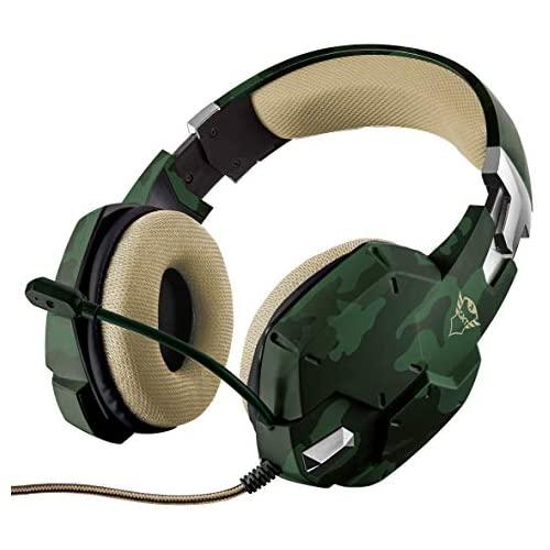 chollos oferta descuentos barato Trust Gaming GXT 322C Carus Auriculares Gaming con Microfono PC PS4 Xbox One Switch Verde Camuflaje