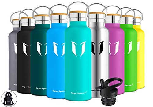 Super Sparrow Stainless Steel Vacuum Insulated Water Bottle, Double Wall Design,Standard Mouth - 500ml & 750ml - BPA Free - with 2 Exchangeable Caps + Bottle Pouch (Mint, 750ml-25oz)