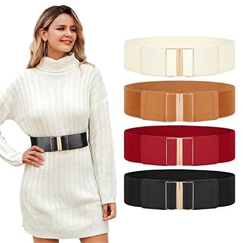"JASGOOD 4 Pack Wide Elastic Stretch Waist Belts for Women Dress Vintage Cinch Belt Suit for Waist Size:27""-30"", A-Black+Brown+Red+Beige"