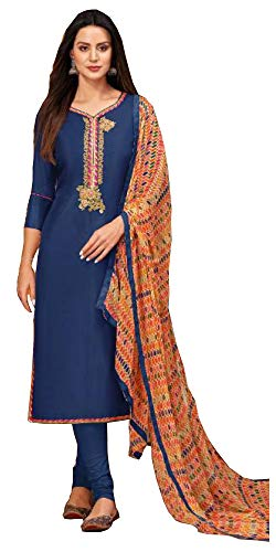 Atharv Collection Women's Chanderi Cotton Unstitched Salwar Suit Dress Material (SUT105_Blue_Free Size)