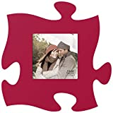 P. GRAHAM DUNN Red 12 x 12 Wall Hanging Wood Puzzle Piece Photo Frame