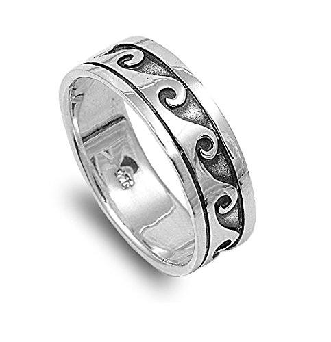 - CloseoutWarehouse Sterling Silver Waves of Eternity Bali Tribal Ring Size 10