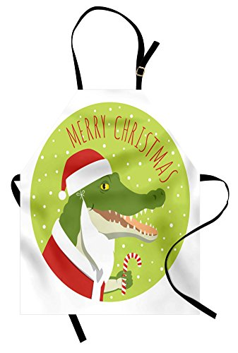 Lunarable Alligator Apron, Smiling Crocodile in a Santa Clau